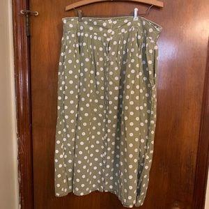 Vintage Midi Pistachio and White Polka Dot Skirt